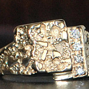 14K Diamond and Gold Nugget Style Ring - 1980's