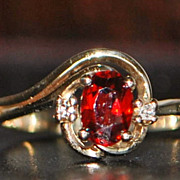10K Garnet and Diamond By-pass Ring - 1980's