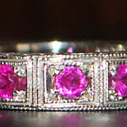 14K w/g Retro Ruby Eternity Band - 1940's