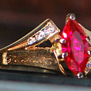 14K Marquise Ruby and Diamond Ring