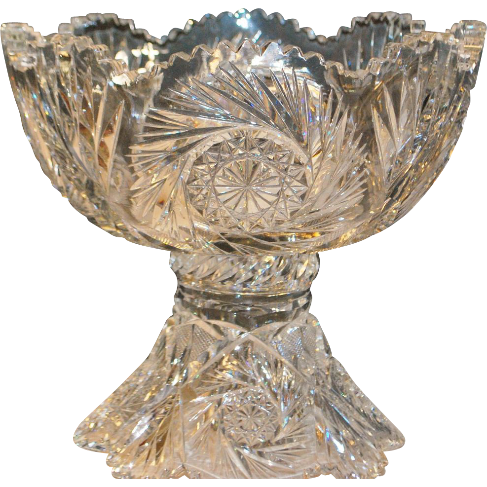 Brilliant Cut Glass Punch Bowl American Brilliant Cut Glass