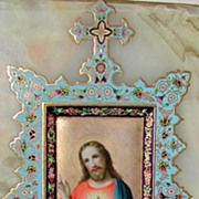 Exquisite Religious Italian Porcelain Enameled Marble Wall Plaque