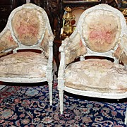Lovely Pair of French Painted Chairs