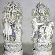 SALE Exceptional Pair of Capo di Monte Porcelain Figures