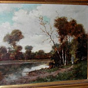 Relaxing Landscape French Oil on Canvas, J.Didier