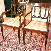 Pair of Inlaid Mahogany Regency Armchairs