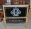 French Black Etched Glass Drop Front Cabinet