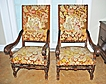 Pair of Walnut Carved Armchairs