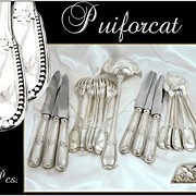 SOLD Puiforcat French Sterling Silver Flatware Set With  Knives