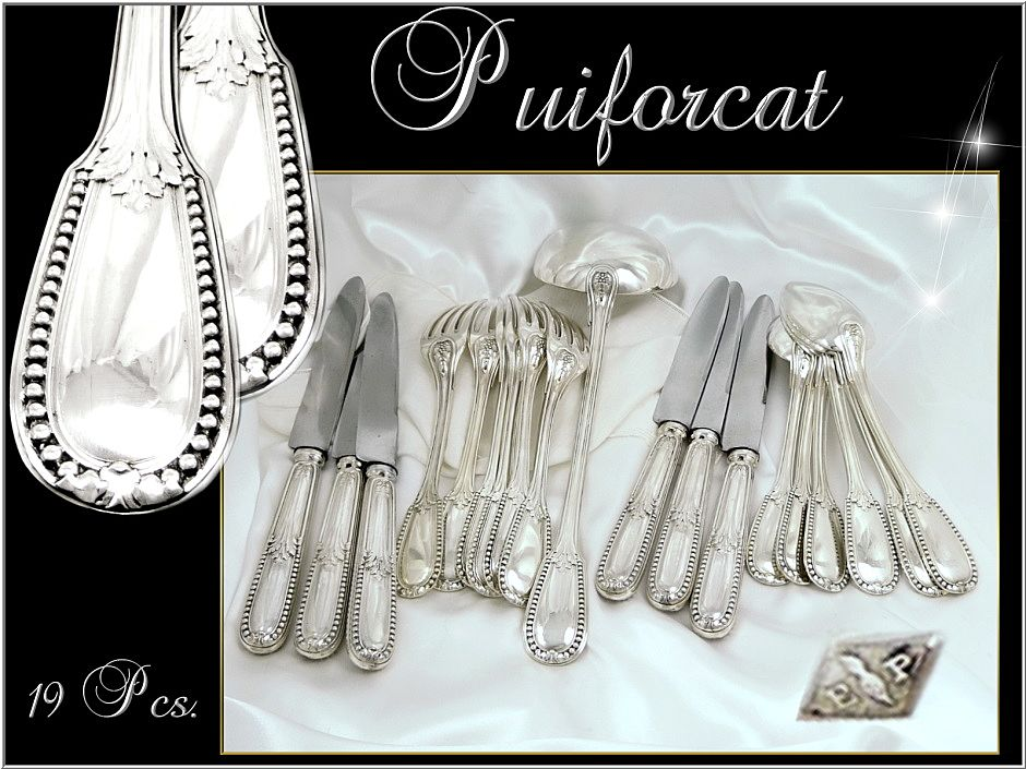 Puiforcat French Sterling Silver Flatware Set With  Knives