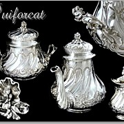 SOLD PUIFORCAT :  Antique French Sterling Teapot  Set - Louis XV  Rocaille