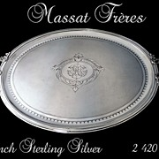SOLD Antique French Sterling  Silver Tray with Guilloche Napol�on III Style 2 420 Gr.