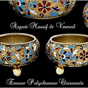 SOLD Pair of Russian Cloisonn� Enamel Silver-Gilt Salt Cellars. 1896-1908