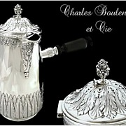 SOLD Antique French Sterling Silver Chocolate Pot with Stirrer. Charles Boulenger & Cie