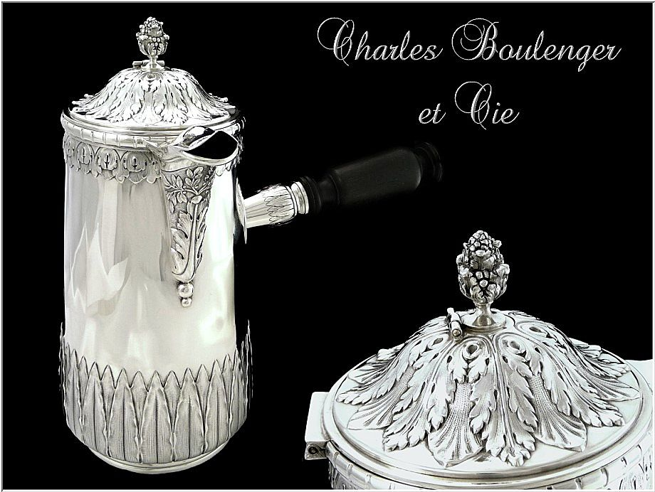 Antique French Sterling Silver Chocolate Pot with Stirrer. Charles Boulenger & Cie