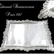 SOLD Ed Bonnescoeur  - Antique French Sterling Silver Tray to Letters / Playing Cards