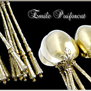 SOLD Emile PUIFORCAT Paris -Antique French Sterling & Vermeil  Tea  or Dessert Spoons 12 Pc.