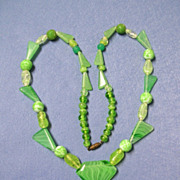 Green Lampwork Glass Bead Necklace