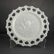 Angel and Lute Decorative Milk Glass Plate