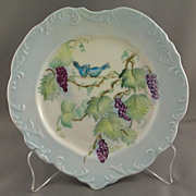 Hand Painted Heart Shaped Porcelain Plate Grapevine with Birds