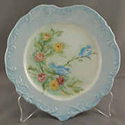 Hand Painted Porcelain Heart Shaped Plate Floral with Birds