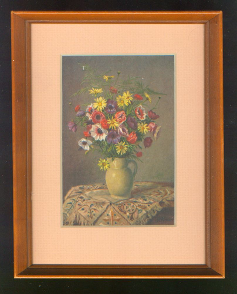 Framed Stehli Postcard Print Of A Floral Arrangement