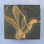 Vintage Letterpress Printers Block - Duck Taking Flight