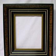 Antique Victorian Complex Faux Tortoise Picture Frame Pair