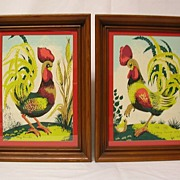 Pair of Margo Alexander Silk Screened Rooster Prints