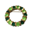Green Rhinestone Circle Wreath Pin