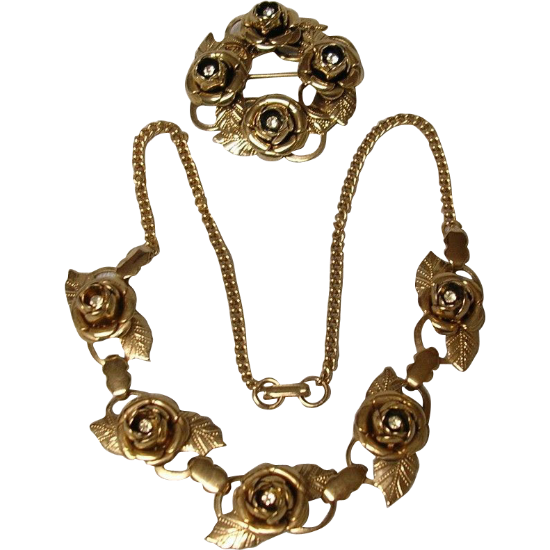 Rose and Rhinestone Necklace and Pin - 1940's