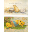 Vintage Easter Greetings Postcard Pair