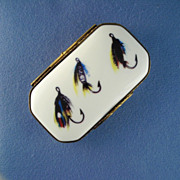 Collectible Limoges Box Decorated With Fishing Flies