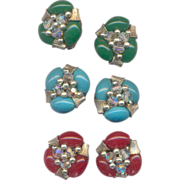 3 Pairs of Japan Plastic Beaded Clip on Earrings in Green, Blue, and Red