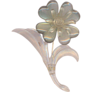 Vintage lucite Flower in Pearlized Blue