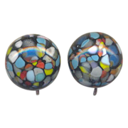 Multi Color Glass Clip on Earrings