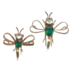 Sterling and Green Dragonfly Fur Clips