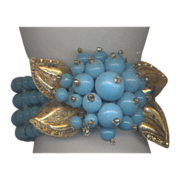 Miriam Haskell Blue Glass Beaded Wrap Memory  Bracelet