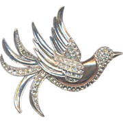 Deco Rhinestone Bird Brooch