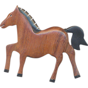 Carved Wooden Horse Brooch