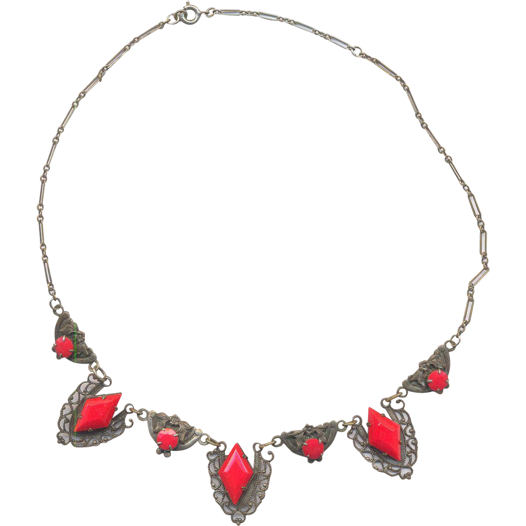 30's Red Glass and Brass Necklace