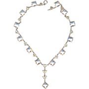 30's Deco Sterling Rhinestone Necklace