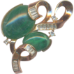 Trifari Retro gold tone Brooch with Green cabs and Rhinestones