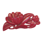 Celluloid  Carved Red Flower Brooch