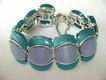 Retro 2-Tone Blue & Aqua Thermoset Moonglow Bracelet