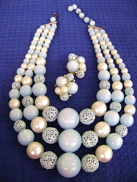 50's Multistrand Demi Blue Moonglow w/Enamel Filagree Beads