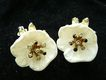 Corocraft Blossom Clip Earrings with Rhinestone Centers