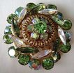 Huge Round Unsigned Beauty Green & A.B. Rhinestone Brooch