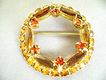 Fall Colors Rhinestone Circle Brooch