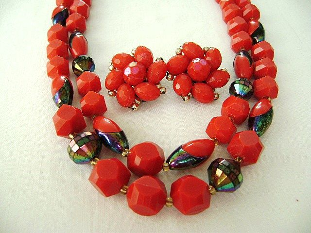 W. German Faceted Red Plastic Multi & Cluster Set